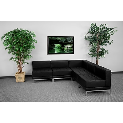 Flash Furniture HERCULES Imagination Series Sectional Configuration Set 5 with 4 Middle Chairs, Black 257560