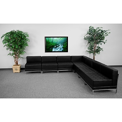 Flash Furniture HERCULES Imagination Leather Sectional Configuration Set 6 W/6 Middle Chairs, Black