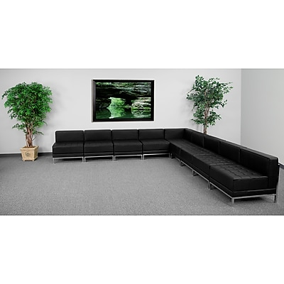 Flash Furniture HERCULES Imagination Series Sectional Configuration Set 7 with 8 Middle Chairs, Black 257562