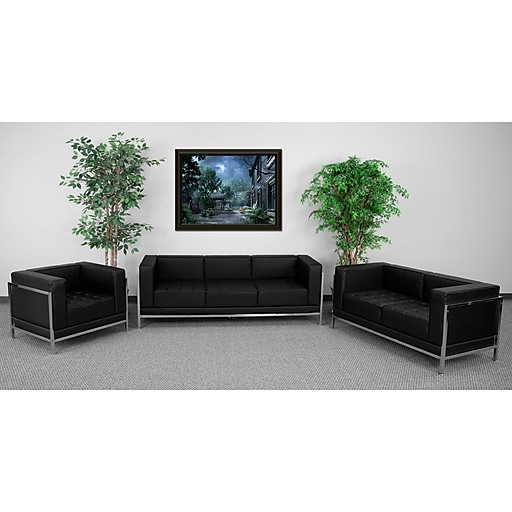 Flash Furniture HERCULES Imagination 3 Piece Sofa Set, Black