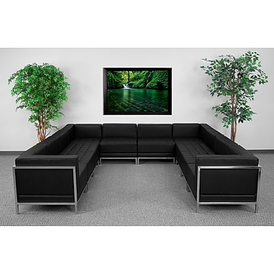 Flash Furniture HERCULES Imagination Series U-Shape Sectional Configuration with 6 Middle Chairs, Black