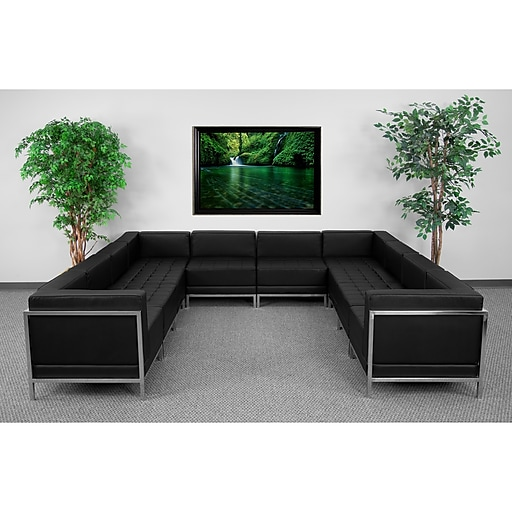 Flash Furniture HERCULES Imagination U-Shape Sectional Configuration With 6 Middle Chairs, Black