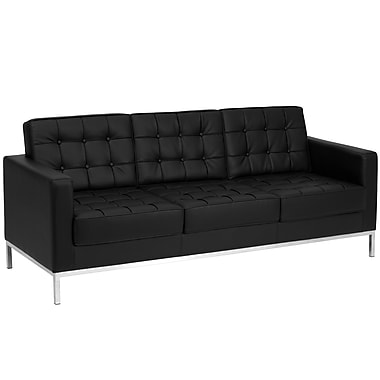 Flash Furniture Hercules Lacey Series Contemporary Leather Sofa with Stainless Steel Frame, Black