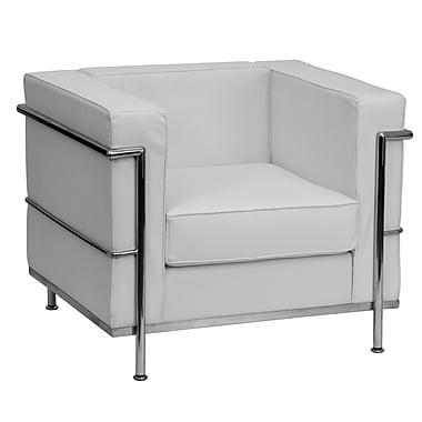Flash Furniture – Fauteuil contemporain en cuir de la série Hercules Regal avec cadre apparent, blanc