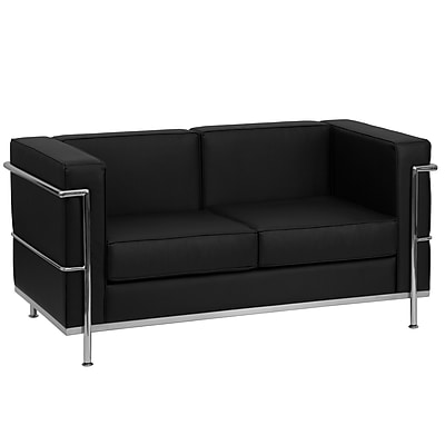 Flash Furniture HERCULES Regal Series Contemporary Leather Love Seat with Encasing Frame, Black