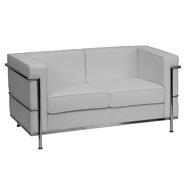 Flash Furniture HERCULES Regal Series Contemporary Leather Love Seat with Encasing Frame, White