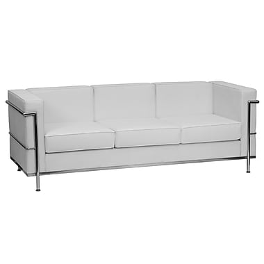 Flash Furniture – Sofa contemporain en cuir Hercules Regal avec garnitures en inox, blanc