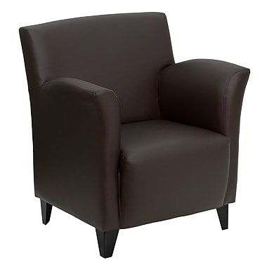 Flash Furniture Hercules Roman Leather Soft Reception Chair, Brown (ZBROMANBRN)