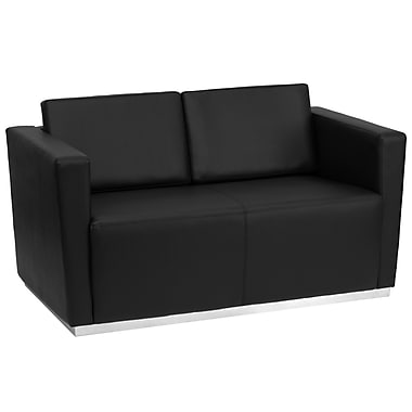 Flash Furniture Hercules Trinity Series Contemporary Leather Love Seat with Stainless Steel Base, Black