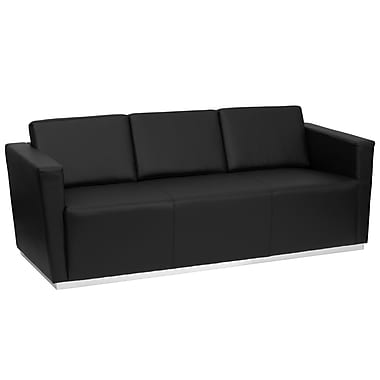 Flash Furniture HERCULES Trinity Series Contemporary Leather Sofa with Stainless Steel Base, Black