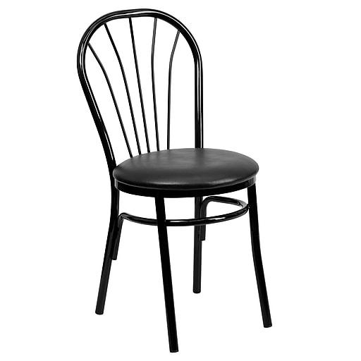 Flash Furniture  Hercules Series Fan-Back Metal Chair, Black Vinyl Seat (XU698BBLKV)