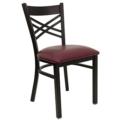 """""Flash Furniture HERCULES Series Black """"""""X"""""""" Back Metal Restaurant Chair, Burgundy Vinyl Seat, 4/Pack"""""" 257619"