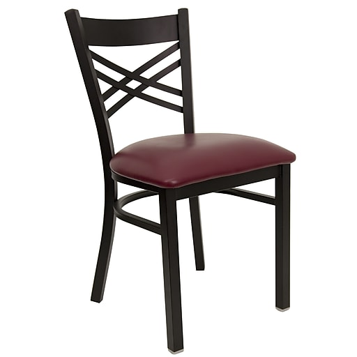 Flash Furniture  Hercules Series Metal X Back Restaurant Chair, Black with Burgundy Vinyl Seat, XU6FOBXBKBURV