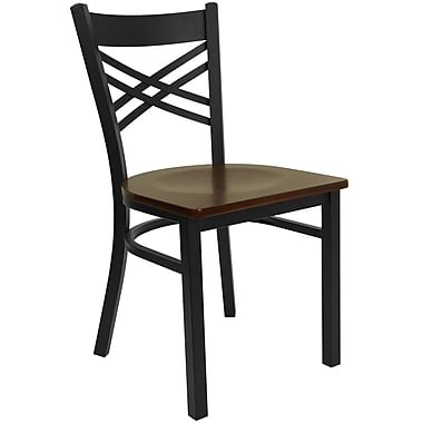 Flash Furniture Hercules X-Back Metal Restaurant Chair, Black with Mahogany Wood Seat (XU6FOBXBKMAHW)