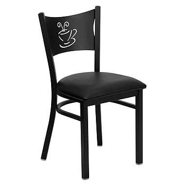 Flash Furniture Hercules Series Black Coffee Back Metal Restaurant Chair, Black Vinyl Seat, 4/Pack