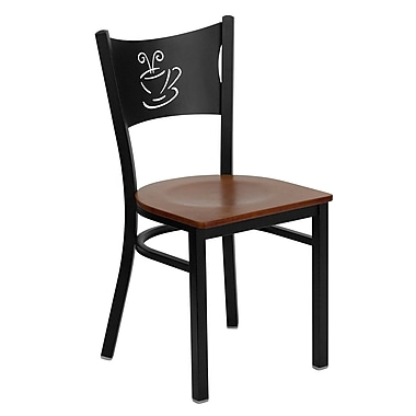 Flash Furniture Hercules Series Black Coffee Back Metal Restaurant Chair, Cherry Wood Seat, 4/Pack
