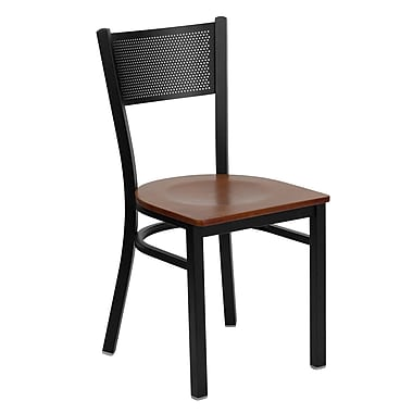 Flash Furniture Hercules Series Black Grid Back Metal Restaurant Chair, Cherry Wood Seat, 24/Pack