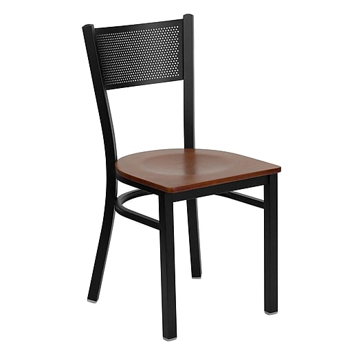 Flash Furniture HERCULES Grid Back Wood Metal Restaurant Chairs, Cherry, 4/Pack