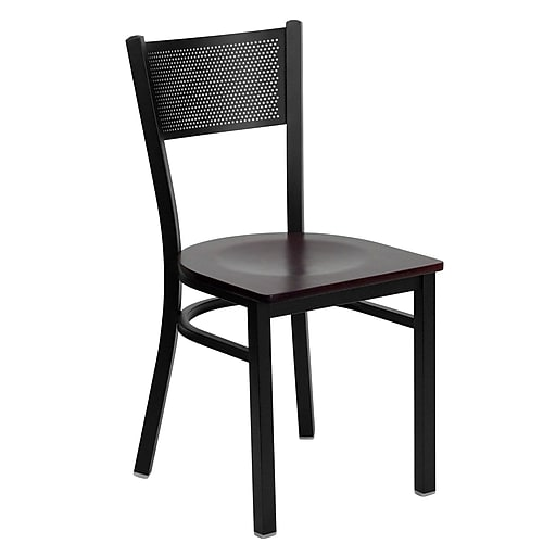 Flash Furniture HERCULES Grid Back Wood Metal Restaurant Chairs, Mahogany, 4/Pack