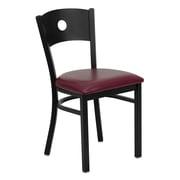 Flash Furniture HERCULES Series Circle-Back Metal Restaurant Chair, Black with Burgundy Vinyl Seat (XUDG6019CIRBURV)