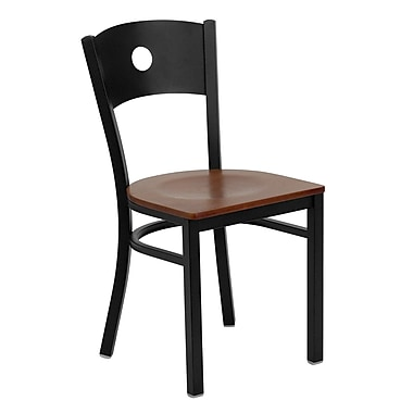 Flash Furniture Hercules Series Black Circle Back Metal Restaurant Chair, Cherry Wood Seat, 24/Pack