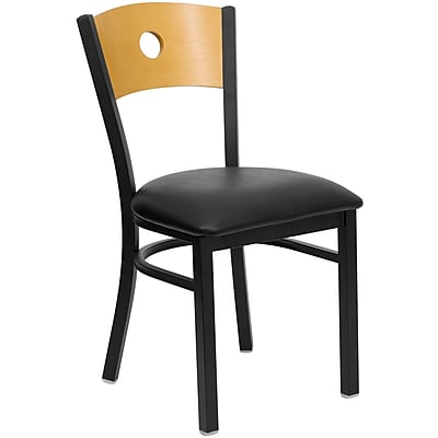 Flash Furniture Hercules Series Black Circle Back Metal Restaurant Chair, Natural Wood Back, Black Vinyl Seat (XUDG6F2BCIRBLKV)