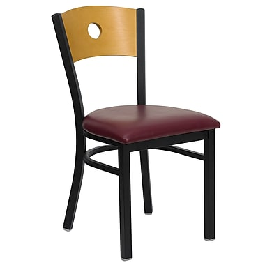 Flash Furniture Hercules Series Black Circle Back Metal Restaurant Chair, Natural Wood Back, Burgundy Vinyl Seat, 4/Pack