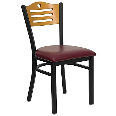 Flash Furniture HERCULES Series Black Slat Back Metal Restaurant Chair, Natural Wood Back, Burgundy Vinyl Seat, 24/Pack