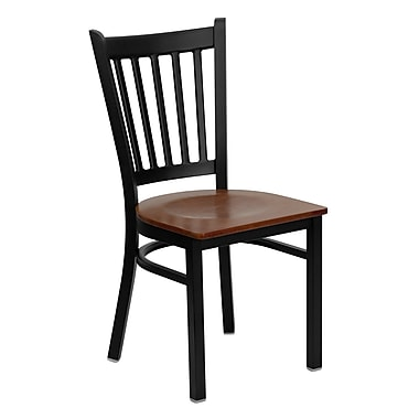 Flash Furniture Hercules Series Black Vertical Back Metal Restaurant Chair, Cherry Wood Seat, (XUDG6Q2BVRTCHYW)