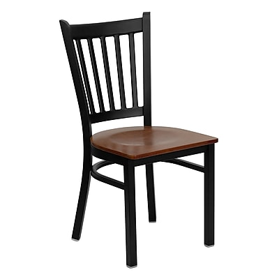 Flash Furniture HERCULES Series Black Vertical Back Metal Restaurant Chair, Cherry Wood Seat, 24/Pack