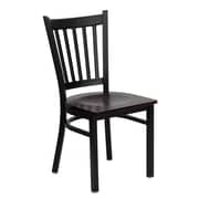 Flash Furniture HERCULES Series Black Vertical Back Metal Restaurant Chair, Mahogany Wood Seat, 24/Pack