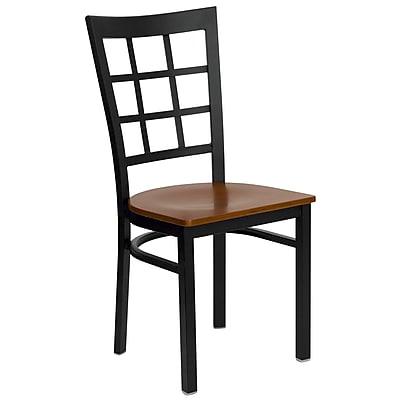 Flash Furniture HERCULES Series Black Window Back Metal Restaurant Chair, Cherry Wood Seat, 4/Pack