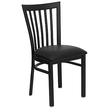 Flash Furniture Hercules Series Black School House Back Metal Restaurant Chair, Black Vinyl Seat, 16/Pack