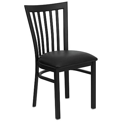 Flash Furniture HERCULES Series Black School House Back Metal Restaurant Chair, Black Vinyl Seat, 4/Pack