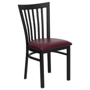 "Flash Furniture Hercules 17.25"" Black School House Back Metal Restaurant Chair, Burgundy Vinyl Seat, (XUDG6Q4BSCHBURV)"