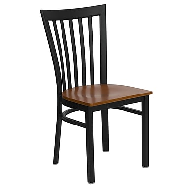 Flash Furniture Hercules Series Black School House Back Metal Restaurant Chair, Cherry Wood Seat, 4/Pack