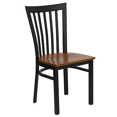 Flash Furniture HERCULES Series Black School House Back Metal Restaurant Chair, Cherry Wood Seat, 16/Pack