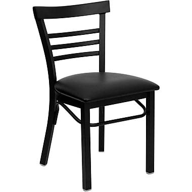 Flash Furniture Hercules Series Black Ladder Style Back Metal Restaurant Chair, Black Vinyl Seat