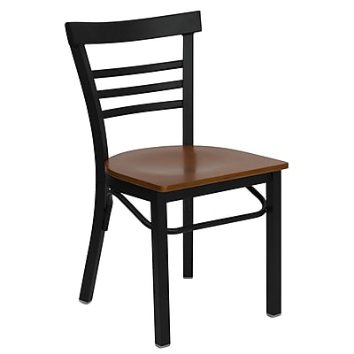Flash Furniture HERCULES Series Black Ladder Back Metal Restaurant Chair, Cherry Wood Seat, 4/Pack