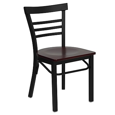 Flash Furniture Hercules Series Black Ladder Style Back Metal Restaurant Chair, Mahogany Wood Seat, 4/Pack
