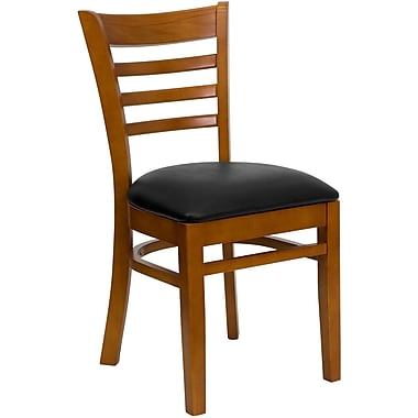 Flash Furniture Hercules Series Ladder Back Wooden Restaurant Chair, Black Vinyl Seat, Cherry Finish, (XUDGW5LADCHYBKV)