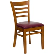 Flash Furniture HERCULES Series Cherry Wood Ladder Back Restaurant Chair, Burgundy Vinyl Seat, 4/Pack