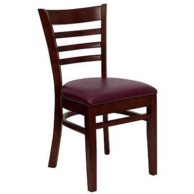 Flash Furniture HERCULES Series Mahogany Wood Ladder Back Restaurant Chair, Burgundy Vinyl Seat, 16/Pack