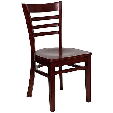 Flash Furniture HERCULES Series Mahogany Wood Ladder Back Restaurant Chair, 16/Pack