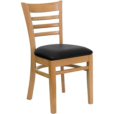 Flash Furniture HERCULES Series Natural Wood Ladder Back Restaurant Chair, Black Vinyl Seat, 16/Pack