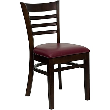 Flash Furniture Hercules Series Ladder Back Wooden Restaurant Chair with Burgundy Vinyl Seat, Walnut Finish, XUDGW5LADWALBUV