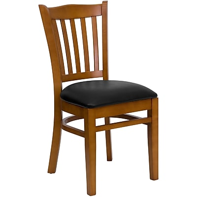 Flash Furniture Hercules Series Cherry-Finished Vertical-Slat-Back Wood Restaurant Chair, Black Vinyl Seat (XUDGW08VRTCYBKV)