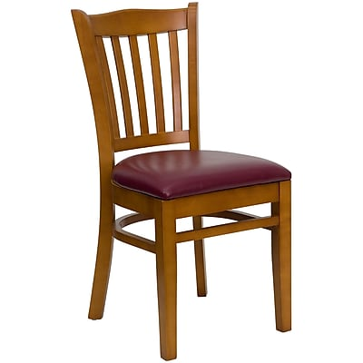 Flash Furniture Hercules Series Cherry-Finish Vertical-Slat-Back Wood Restaurant Chair, Burgundy Vinyl Seat (XUDGW08VRTCYBUV)