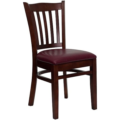 Flash Furniture HERCULES Series Mahogany Wood Vertical Slat Back Restaurant Chair, Burgundy Vinyl Seat, 4/Pack