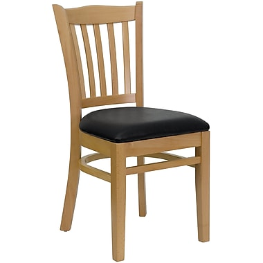 Flash Furniture Hercules Vertical Slat Back Wood Restaurant Chair, Natural Wood Finish with Black Vinyl Seat (XUDGW8VRTNATBKV)
